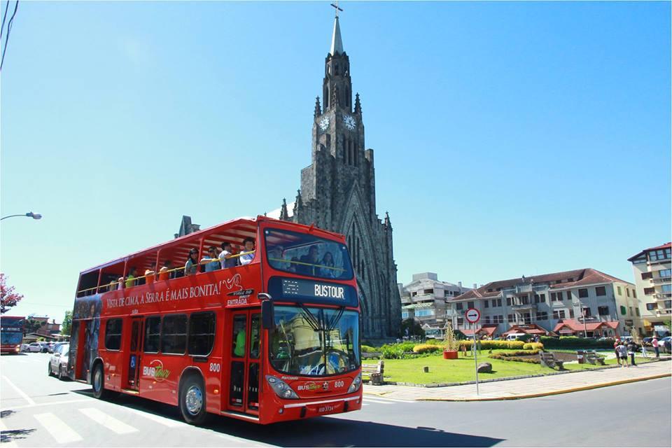 BusTour: ônibus turístico - Mapa de Gramado. Foto: Divulgação, facebook Brocker Turismo
