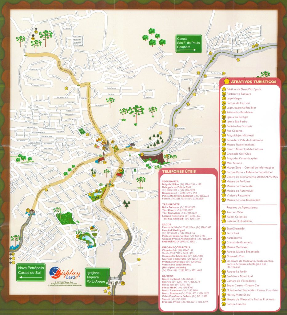 Mapa turístico de Gramado - Mapa de Gramado. Imagem: Reprodução do mapa distribuído na Central de Informações de Gramado