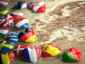 Mapa: roteiro de viagem na Europa
