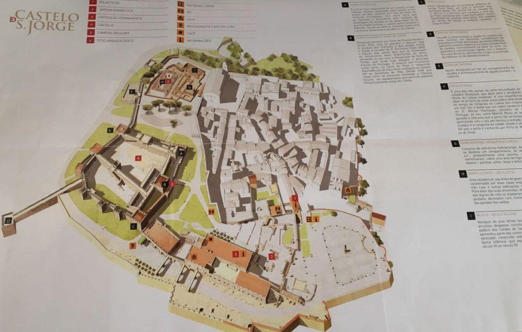 Mapa do Castelo de São Jorge.